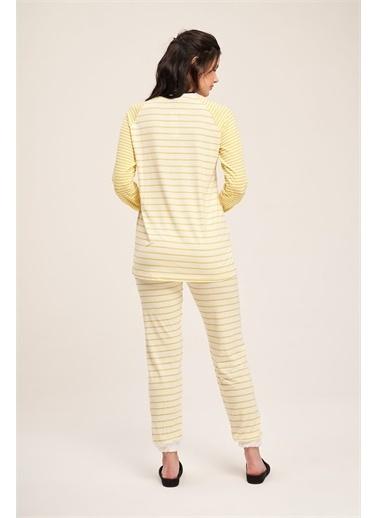 Mizalle Çizgili Kaşkorse Pijama Takımı  Sarı